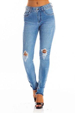 Calça Jeans Bana Bana Midi Skinny com Tachas no Cós