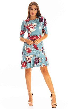 Vestido Bana Bana Curto com Leve Peplum Estampado