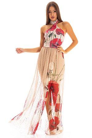 Vestido Longo Bana Bana com Tule e Paetê Estampado