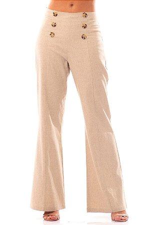 Calça Alfaiataria Bana Bana Pantalona em Linho