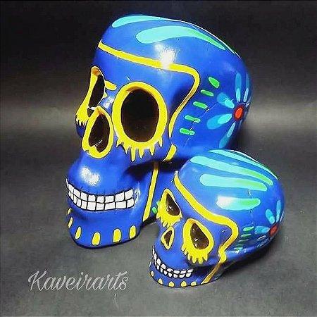 Caveira Mexicana Tradicional Azul (Grande e Pequena)