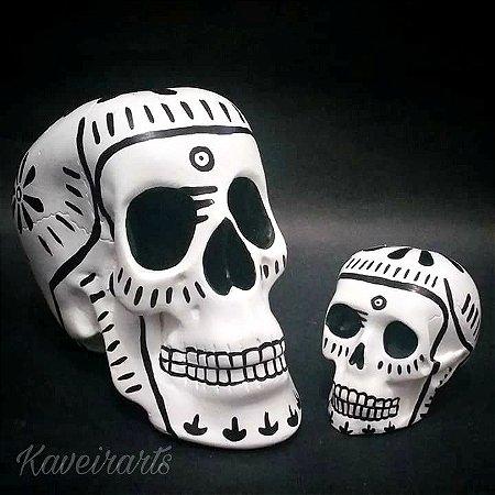 Caveira Mexicana Tradicional Branca (Grande e Pequena)
