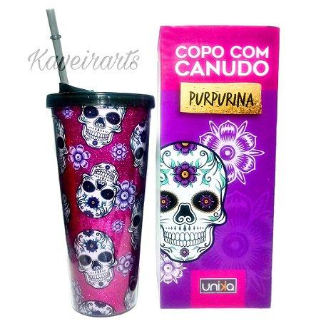 Copo Canudo Purpurina 650ml
