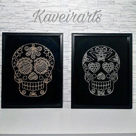 Quadro Decorativo Caveira Mexicana Glitter
