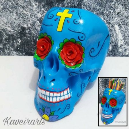 Caveira Mexicana Azul com Cruz Amarela (Grande) (Fechada ou Porta Treco)