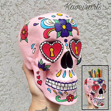 Caveira Mexicana Rosa com olhos de Coração (Grande)(Fechada e Porta Treco)