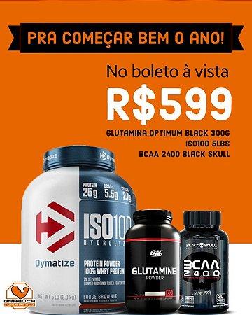 Combo 1º do Ano - Iso 100 5lbs + Glutamina On 300g +BCAA 2400 Black Skull