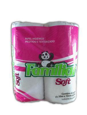 Papel Higienico Familiar Soft 30 Metros com  4 Unidades(ROSA)