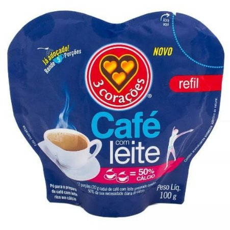 CAFE C/LEITE 3 CORACOES 100G SACHE