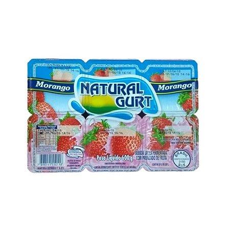 Bebida Lactea Natural Gurt 600G Morango Com 6 Unidades