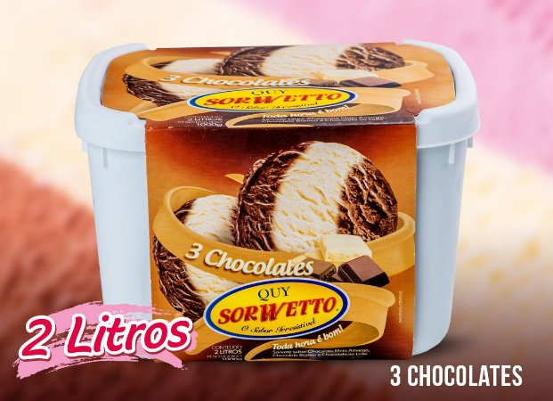 SORVETE QUY SORWETTO TRES CHOCOLATES 2L