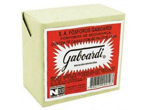 FÓSFORO GABOARDI C/ 10 UNIDADESDE 40 PALITOS