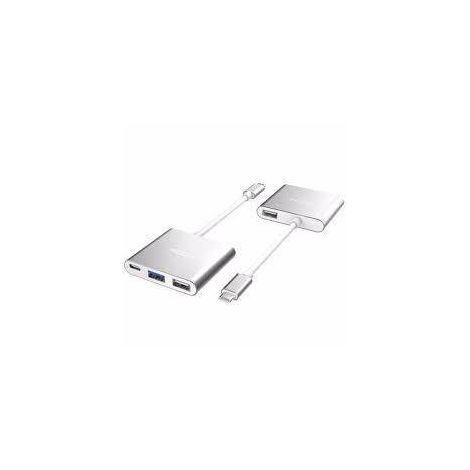 Hub Adaptador Type-C para 4 Portas (2 x USB 2.0 + Type-C + USB 3.0) Branco e Alumínio