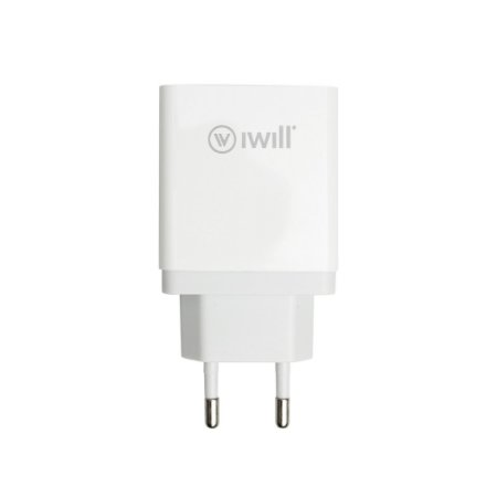 Adaptador de Parede com 1 saída USB e 1 saída USB-C PD 30w - iWill