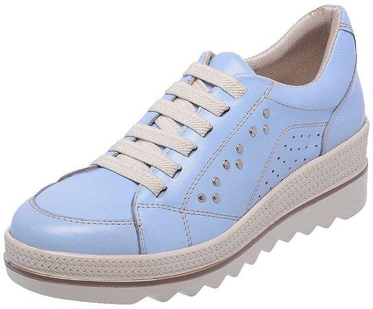 Tenis Feminino Em Couro 3905 Azul