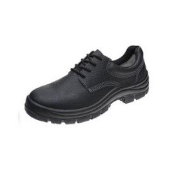 Sapato de segurança couro Preto Cadarço Bico de PVC