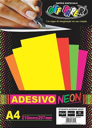 Etiqueta Adesiva Neon Amarelo, 100g/m2,  pacote 20fls.