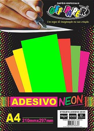 Etiqueta Adesiva Verde, 100g/m2,  pacote 20fls.