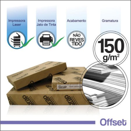 Offset 150g/m2,  pacote 250fls.