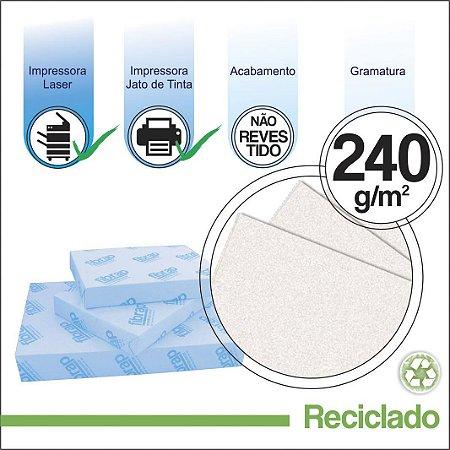 Reciclado 240g/m2,  pacote 250fls.