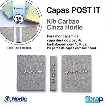 Kit Cartão Cinza Horlle 1.9 mm, para montagem da capa do post it.,  pacote com 10 conjuntos.
