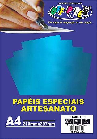 Papel Lamicote Azul, 250g/m2,  pacote 10fls.