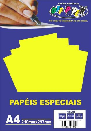 Papel Neon Amarelo, 180g/m2,  pacote 20fls.