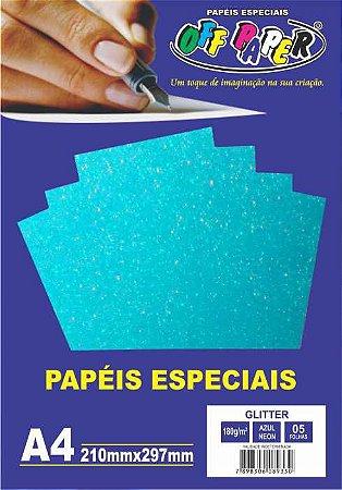 Papel Glitter Azul Neon, 180g/m2,  pacote 5fls.
