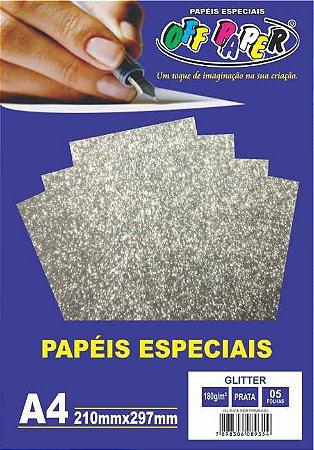 Papel Glitter Prata, 180g/m2,  pacote 5fls.