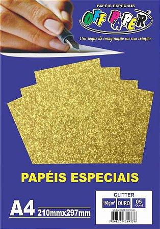 Papel Glitter Ouro, 180g/m2,  pacote 5fls.