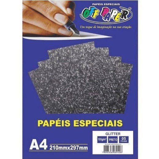 Papel Glitter Preto, 180g/m2,  pacote 5fls.