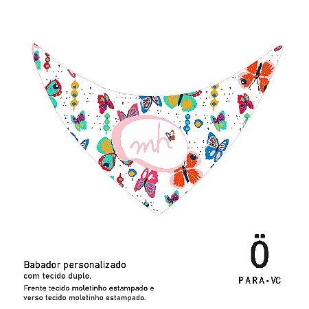 babador para bebê personalizado . BORBOLETAS NO JARDIM BAIANO . ÖTA • PARA • VC
