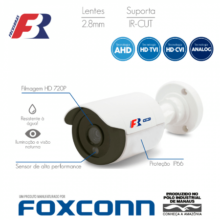 Câmera FBR Focusbras Bullet Flex HD FS-PBF1mc Alta Definição (1.0MP | 720p | 2.8mm | Plast)