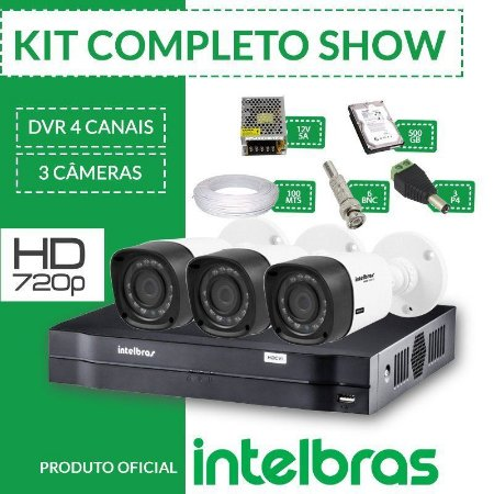 Kit Intelbras Completo Alta Definição - 3 Câmeras - HD