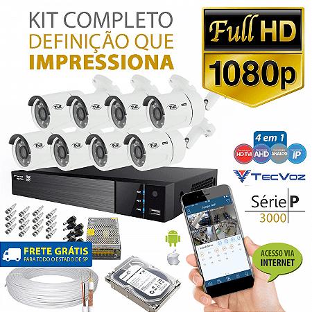 Kit Tvz Tecvoz 8 Câmeras Full Hd - Serie P3008