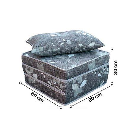 Colchão Puff Dobrável com Travesseiro - Floral Preto