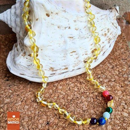 Colar Adulto Âmbar Limão e Pedras dos Chakras - 45cm