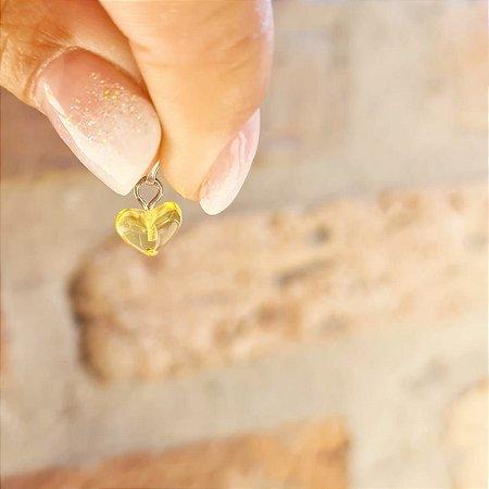 Pingente Coração de Âmbar  Pequeno - Limão Polido