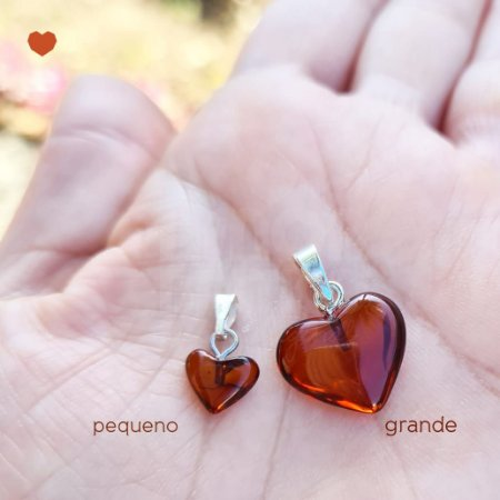 Pingente Coração de Âmbar Grande - Conhaque Polido