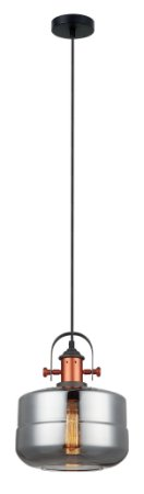 Luminária Pendente Vidro Cromado E Aço Bronze
