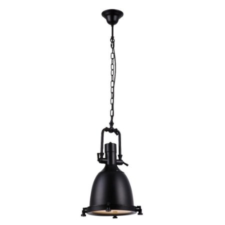 Luminária Pendente Industrial Retrô Metal Preto Fosco e Vidro Fosco