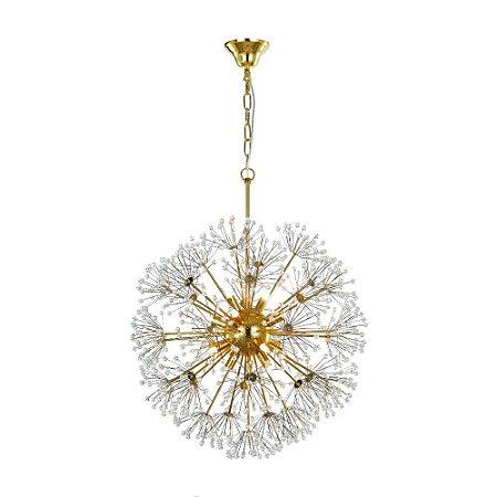 Pendente de Cristal e Aço Dourado Fibbra - 12 x G9
