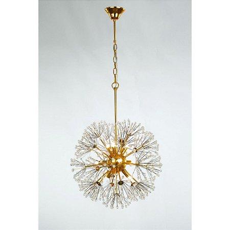Pendente de Cristal e Aço Dourado Fibbra - 9 x G9