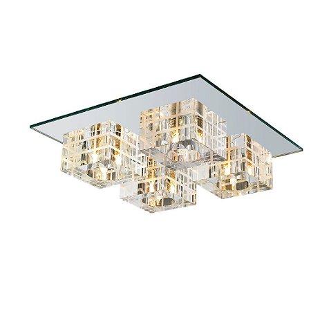 Plafon Cristal Translúcido e Vidro Espelhado 4xG9 - 30x30 cm