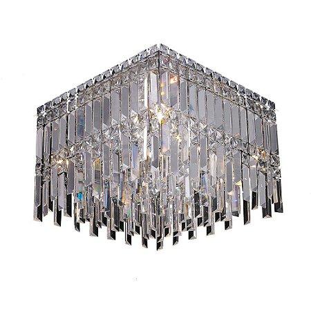 Plafon Cristal Translúcido e Aço Cromado 40 x 40 cm