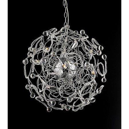 Pendente Medusa Cristal e Aço Cromado 60 cm