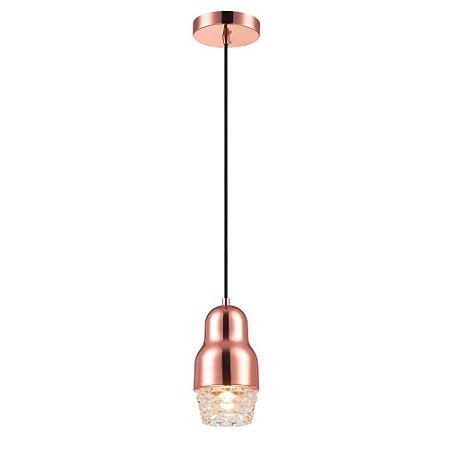 Luminária Pendente Ouro Rosé Gold Vidro Sala Quarto Bar
