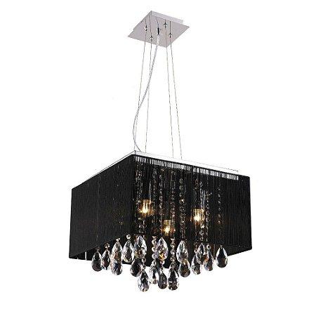 Plafon / Pendente Cristal e Fio de Seda 40 cm x 40cm - Preto