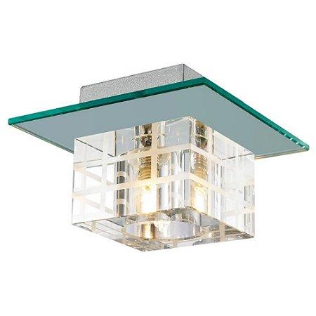Plafon Cristal Translúcido e Vidro Espelhado 1xG9 15x15 cm