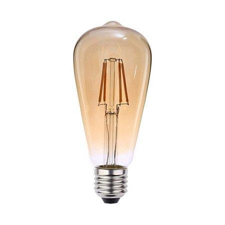 Lâmpada LED Filamento 4W Retrô Vintage Pera Bivolt ST64